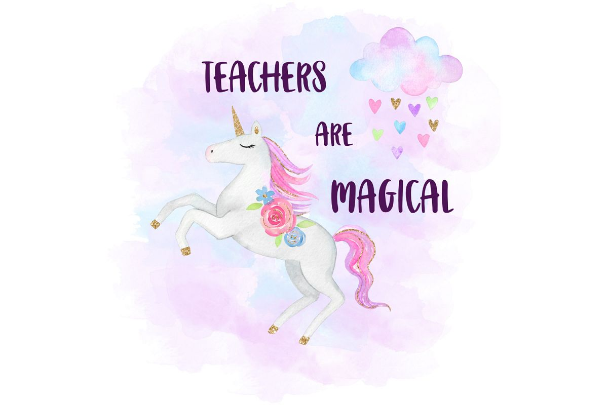 Teachers Are Magical, Watercolor Unicorn Clipart example image 1