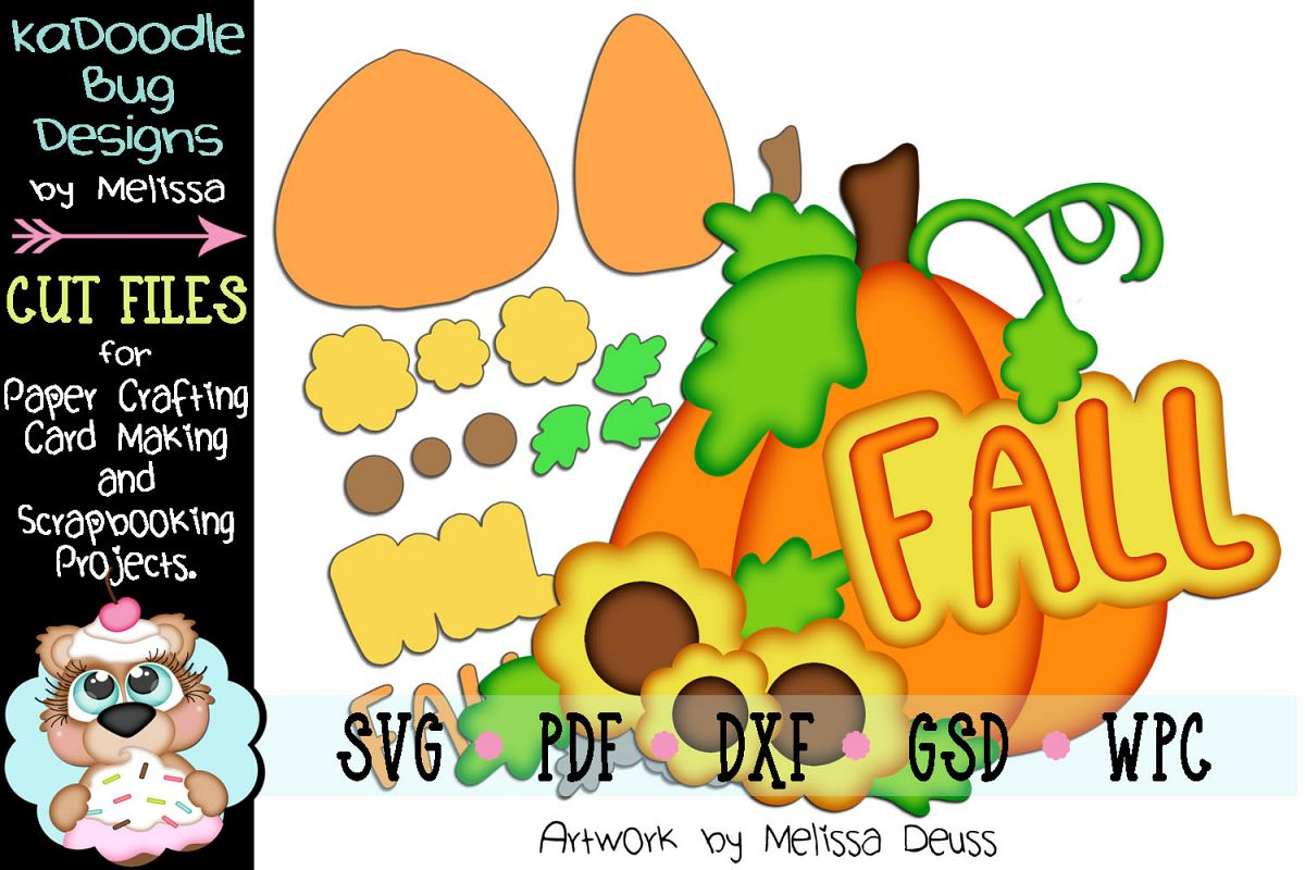Fall Pumpkin Title Cut File - SVG PDF DXF GSD WPC example image 1