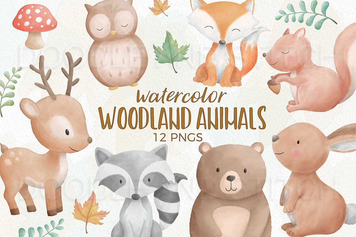 Watercolor Woodland Animal Designs example image 1