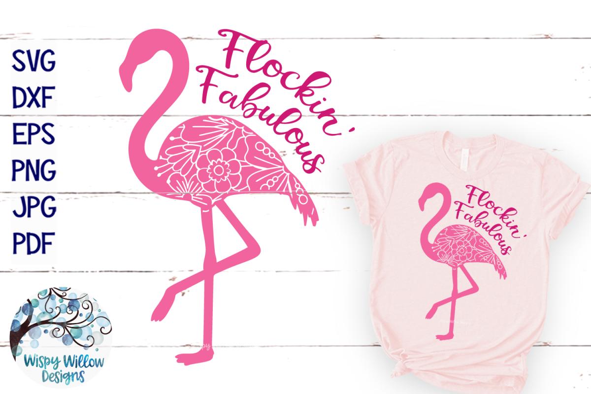 Flockin' Fabulous Flamingo Mandala SVG Cut File example image 1