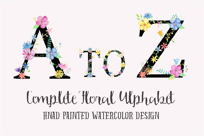 Watercolor floral alphabets with black background example image 1