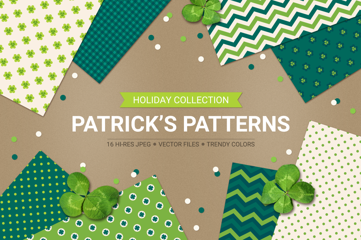 St. Patrick's Day Seamless Patterns - Set 2 example image 1