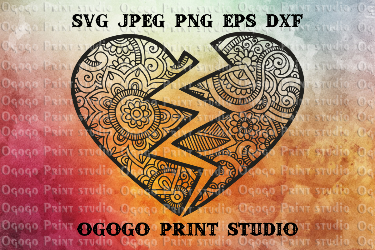 Mandala svg, Best Friends Svg, Heart svg, Zentangle SVG example image 1
