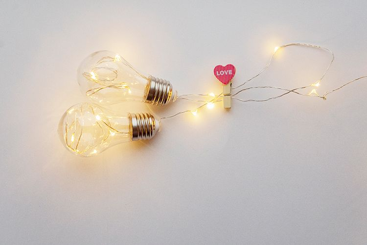 Valentine's day photo with heart and lamps example image 1