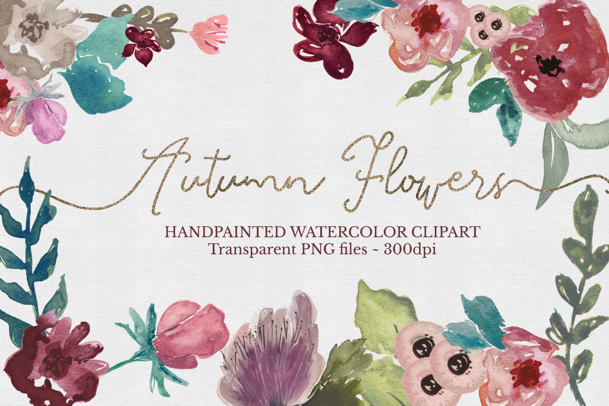 Floral Watercolor Clipart Set example image 1