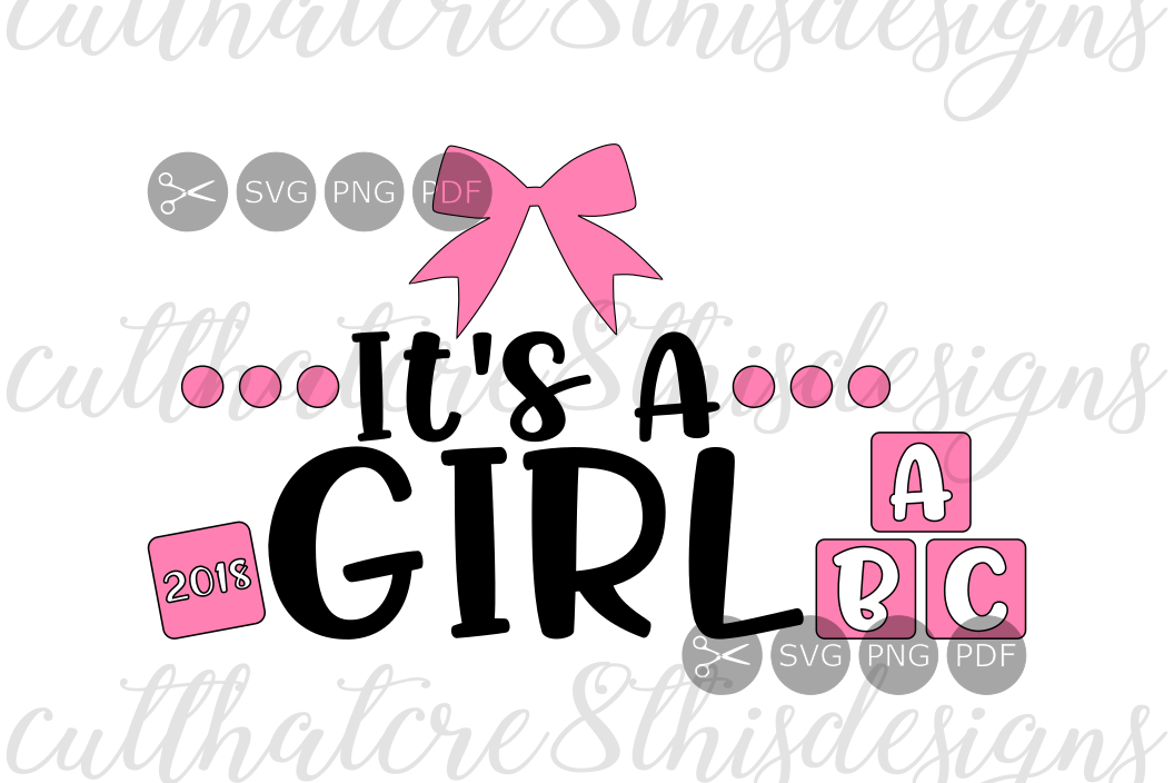 It's A Girl, Pink, Bows, Blocks, Baby Reveal, Shower, Quotes
