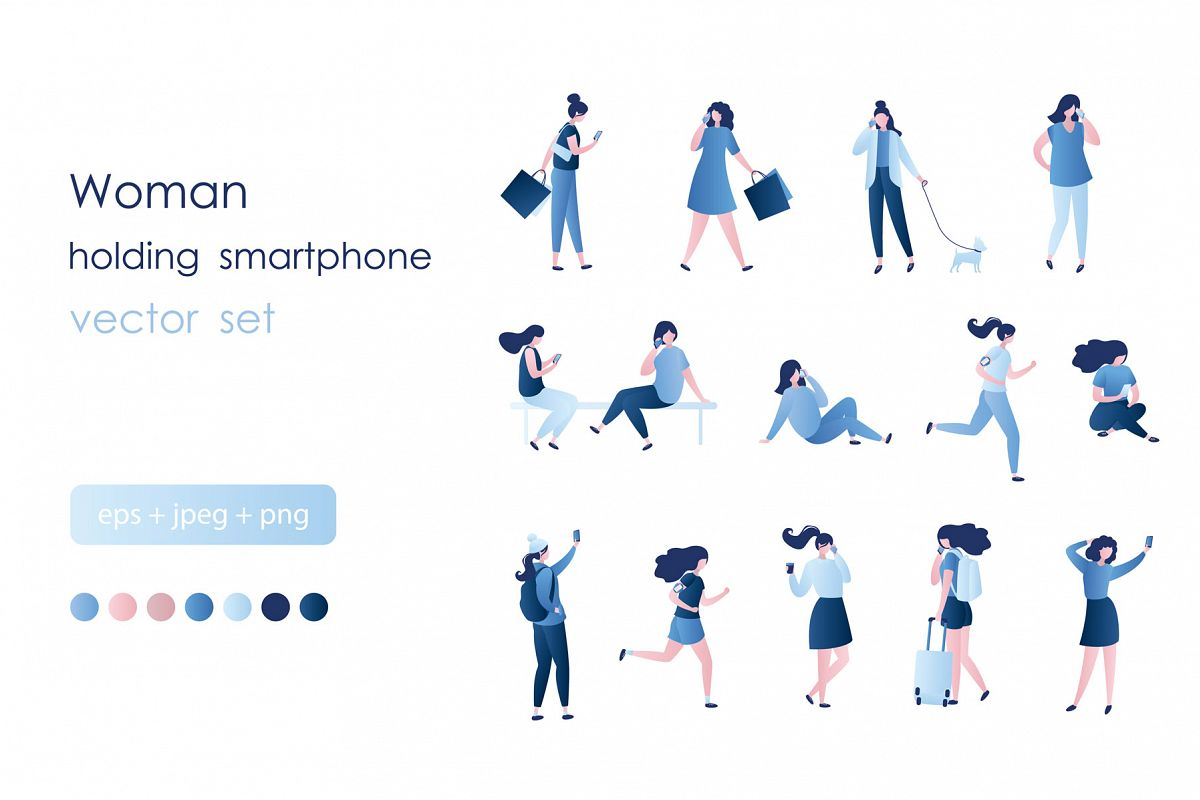 Set of girls with smartphones example image 1