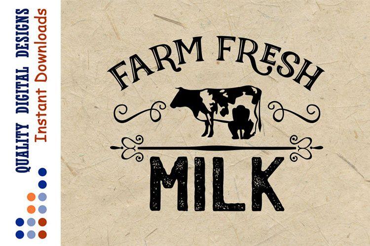 Farm Fresh Milk SVG Cow Svg Farm example image 1