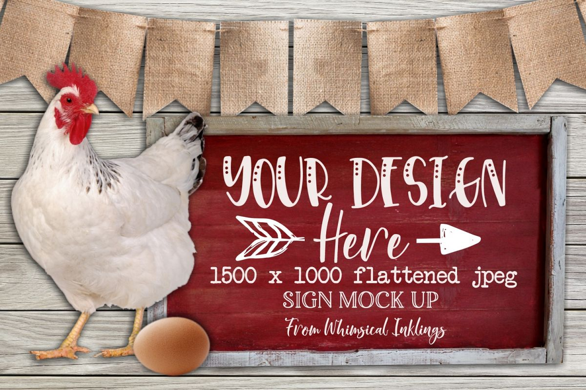 Country Chicken Sign Mock Up example image 1