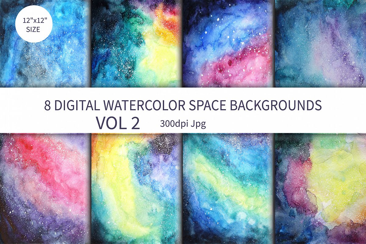 Watercolor Space Background example image 1