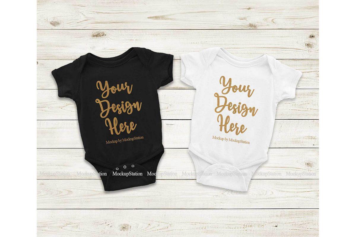 Matching Newborn Black White Baby Bodysuit Mock Up Flat Lay example image 1