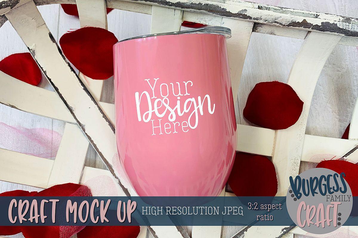 Valentine pink wine tumbler Craft mock up example image 1