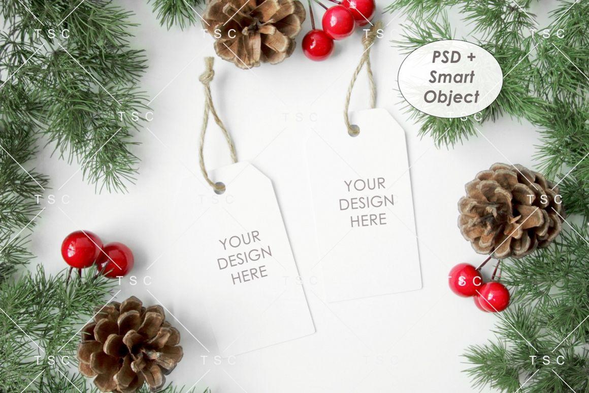 Gift Tag Mockup / Christmas Present Tag Mockup example image 1