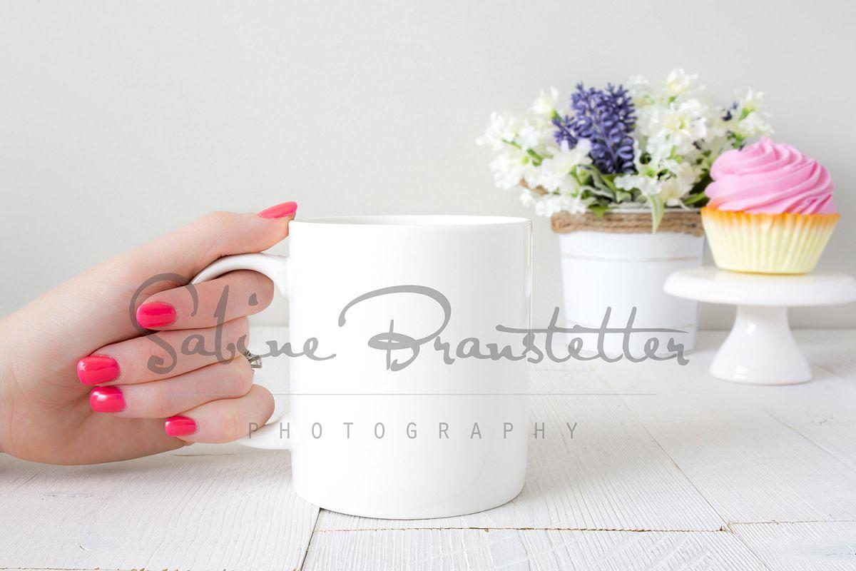 Styled Stock Photography White 12oz Coffee Mug Mockup example image 1