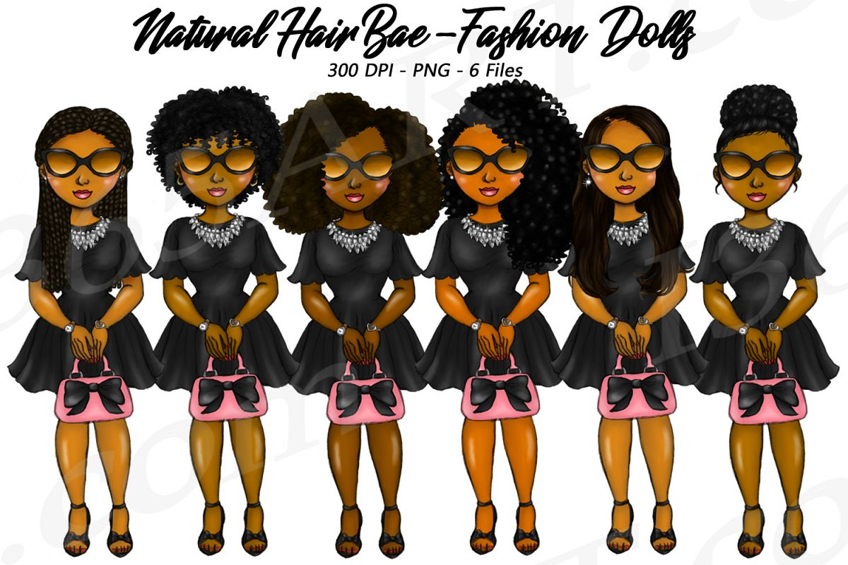 Bad Bae Planner Clipart, Black Girls, Natural Hair, Fashion example image 1
