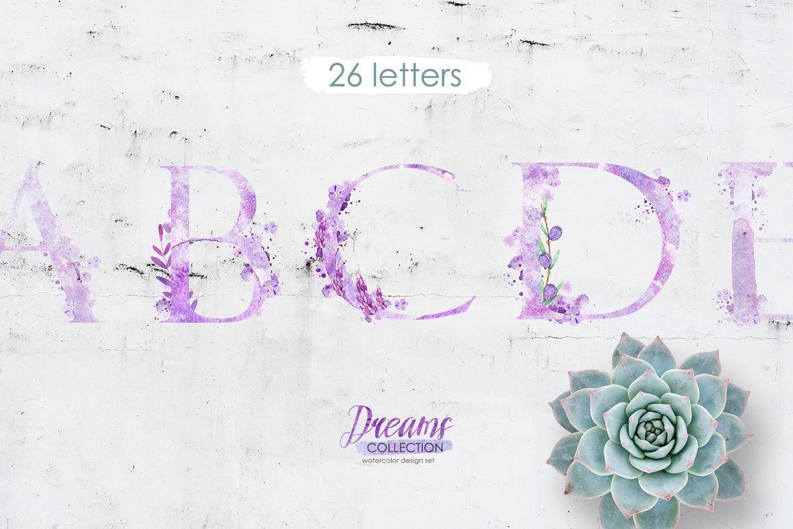Watercolor alphabet - DREAMS example image 1