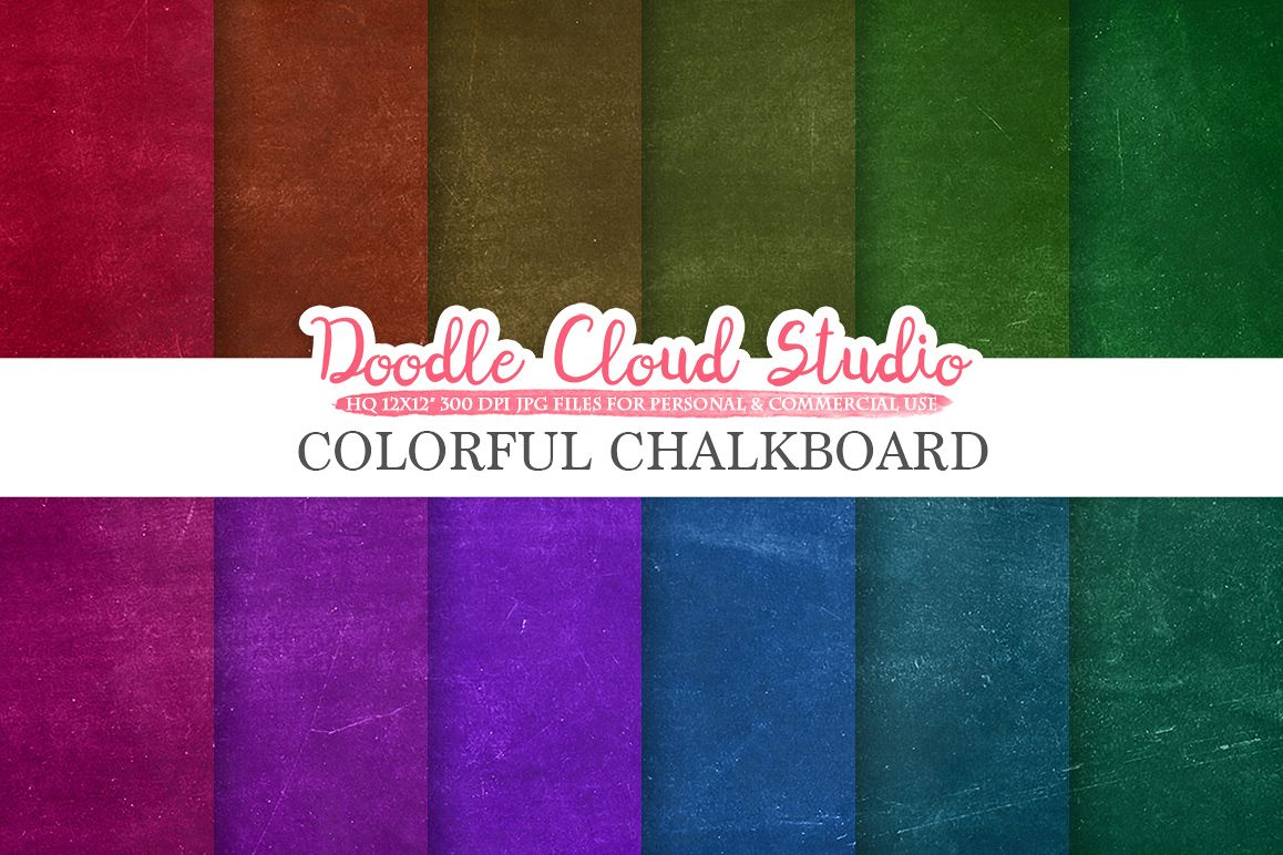 Colorful Real Chalkboard digital paper, Rainbow chalkboard Backgrounds, red green blue schoolboard textures, Instant Download Commercial Use example image 1