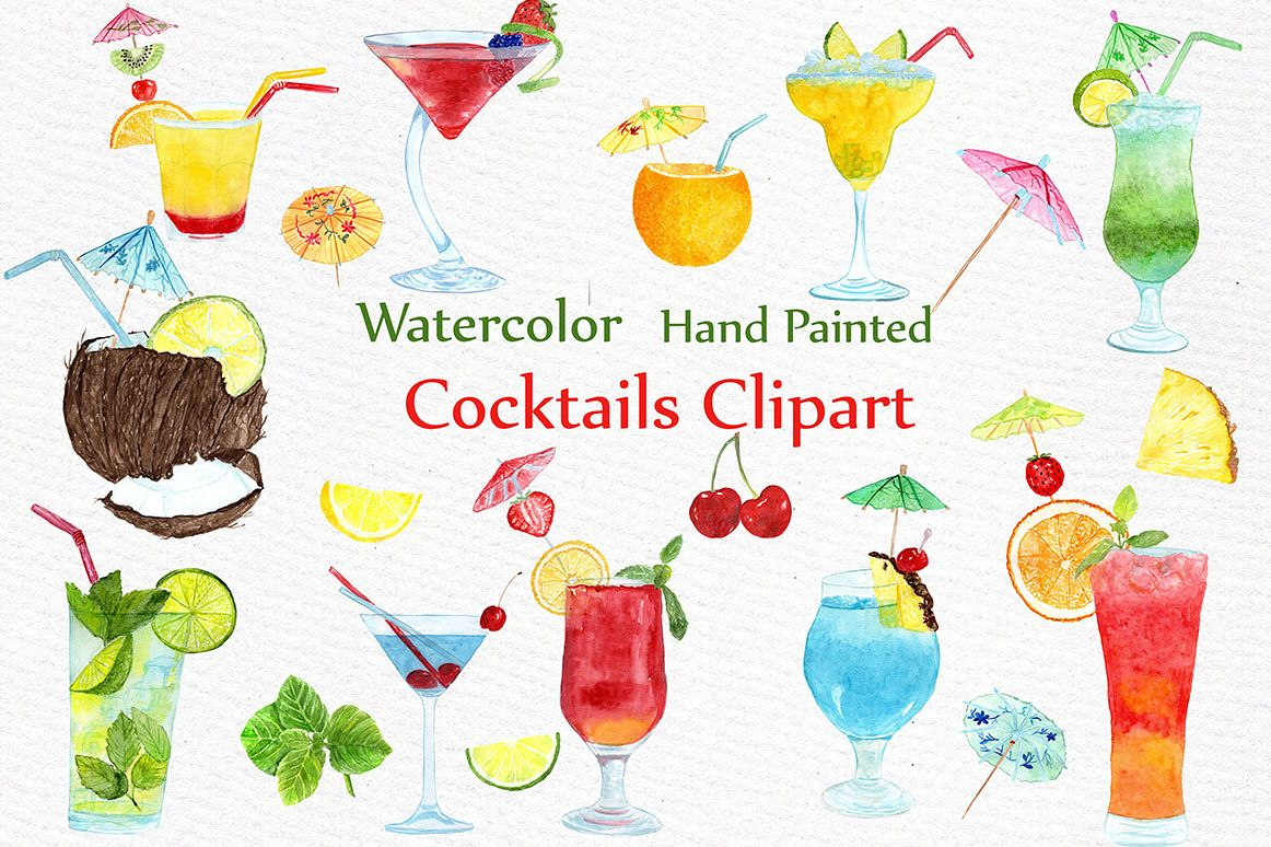 Watercolor Cocktails clipart example image 1