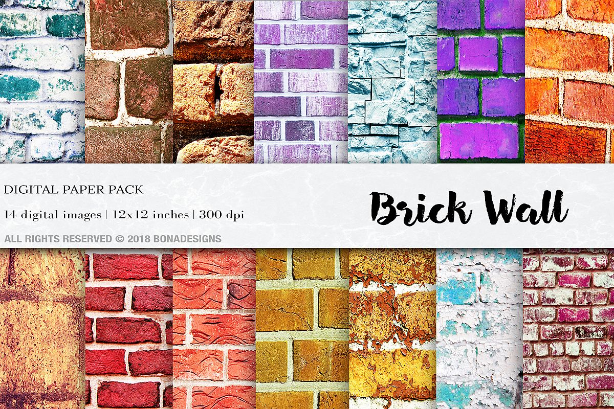 Wall Digital Paper Pack, Brick Wall Digital Paper Pack,Wall example image 1