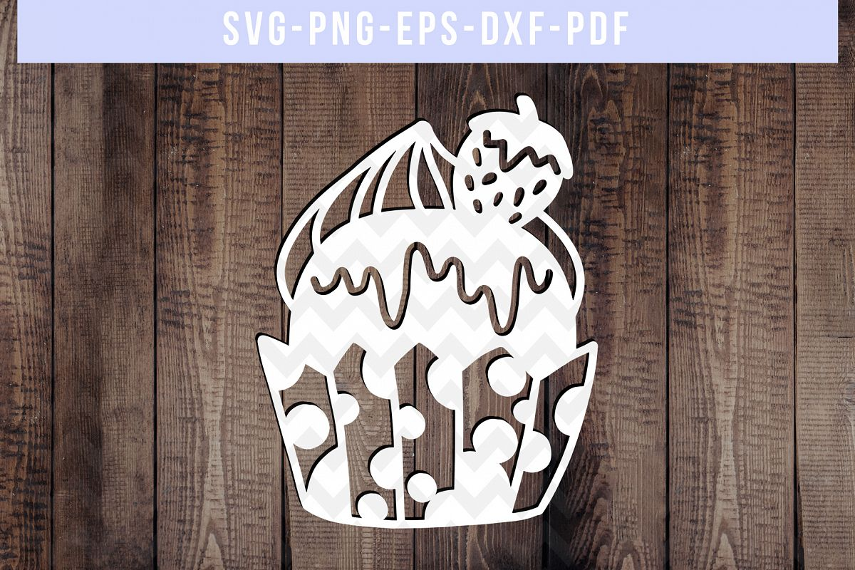 Strawberry Cupcake Papercut Template, Kitchen Gifts SVG PDF example image 1