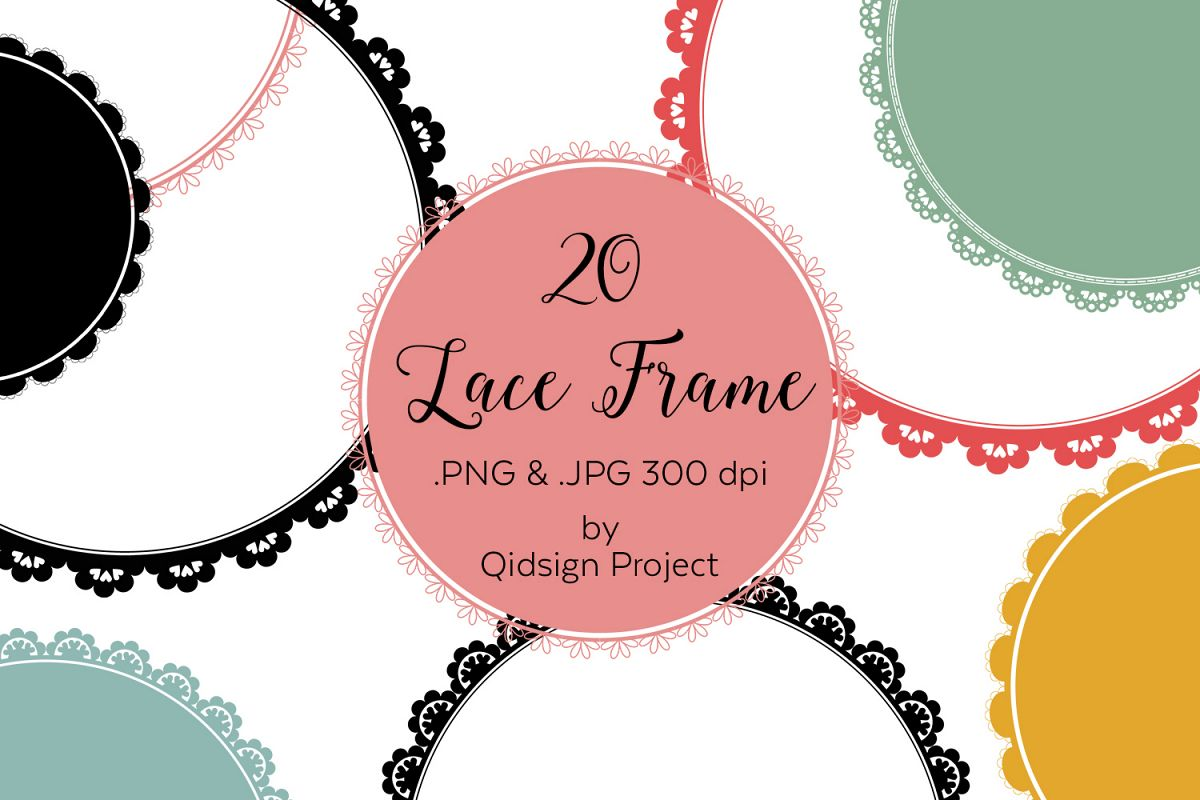 20 circle lace clipart | PNG | JPG example image 1
