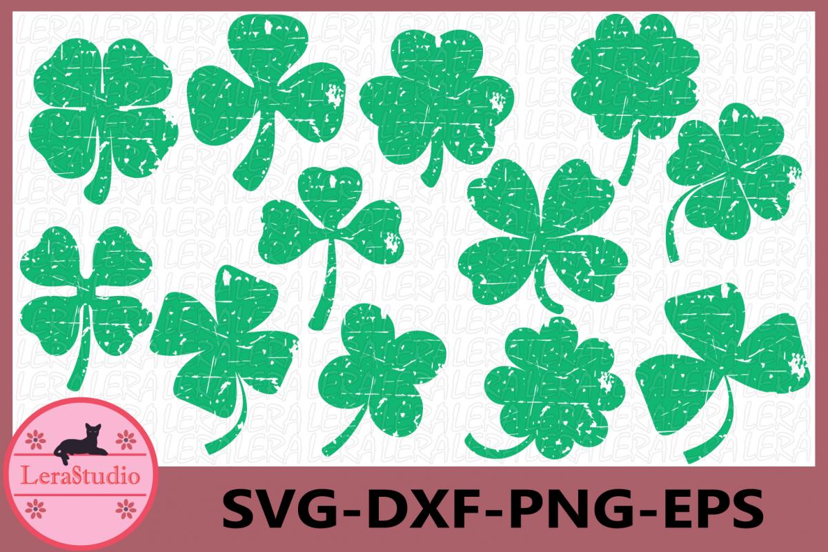 Clover Grunge Svg, Shamrock Grunge SVG, Patricks Day Svg example image 1