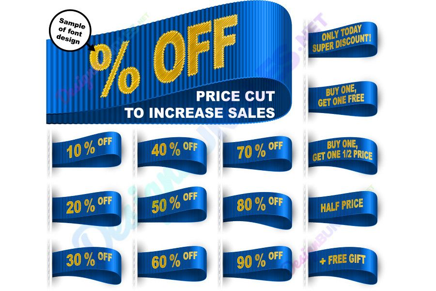 Vector Marketing Tag Clothes Label Sticker Sewn Price Cut Set Blue example image 1