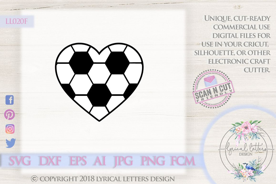 Soccer Heart SVG DXF FCM LL020F example image 1