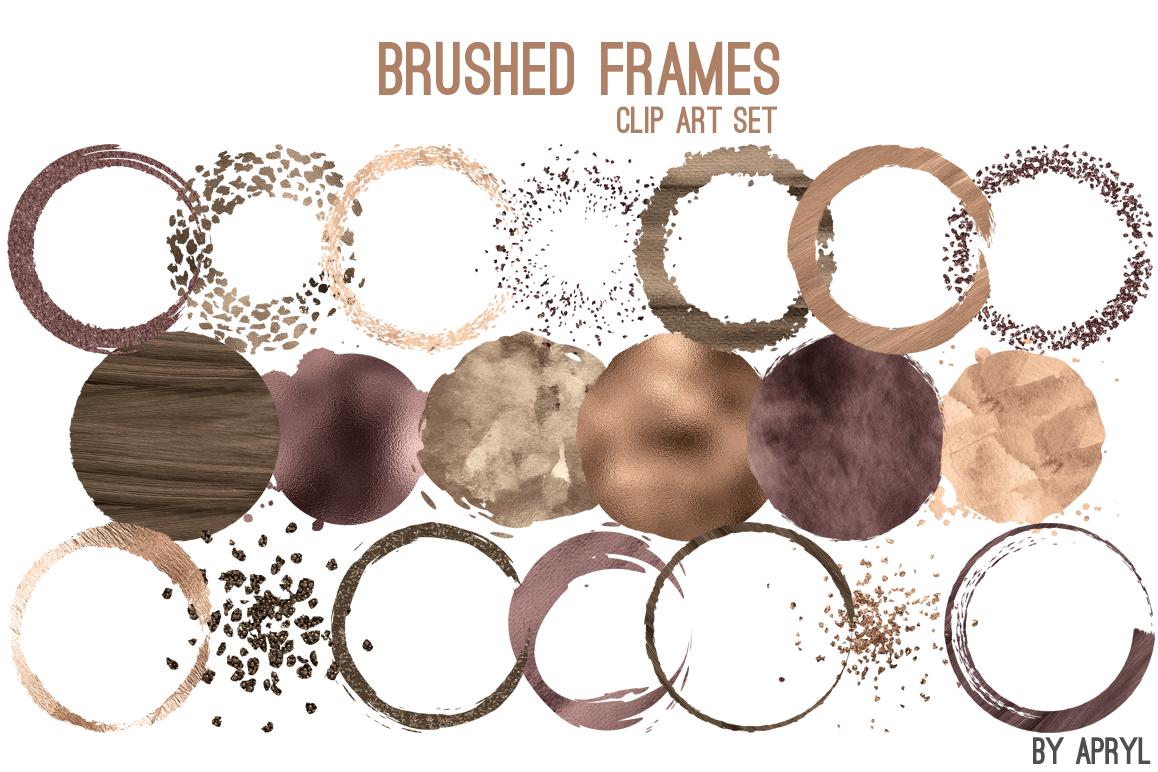 Brown Gold Brush Stroke Round Frames