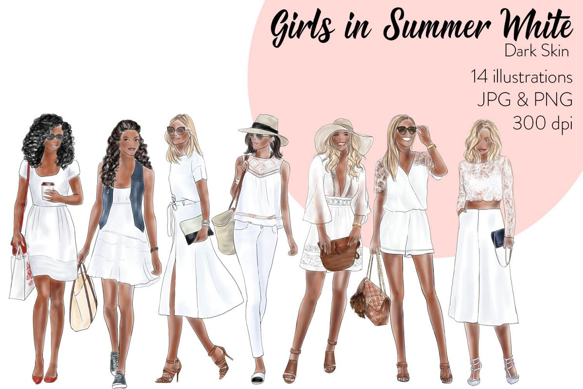 Fashion illustration clipart - Girls in summer white - Dark skin example image 1