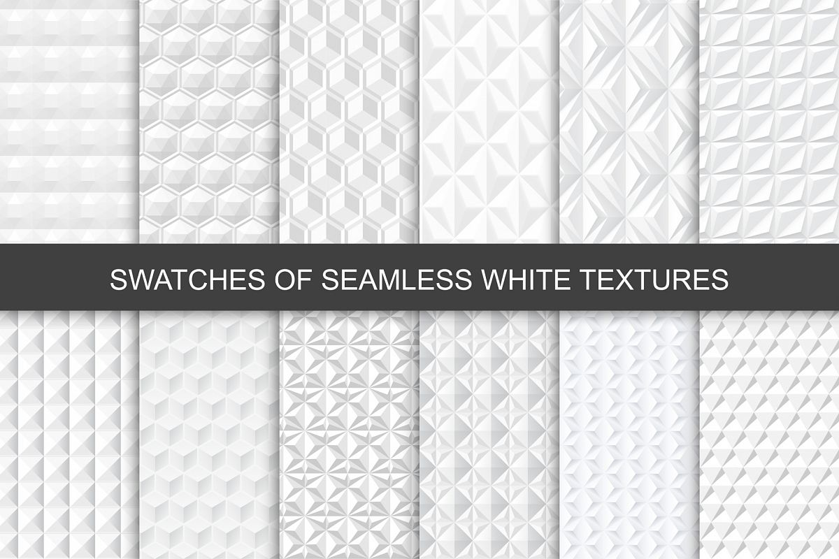 Seamless White 3d Textures. Swatches example image 1