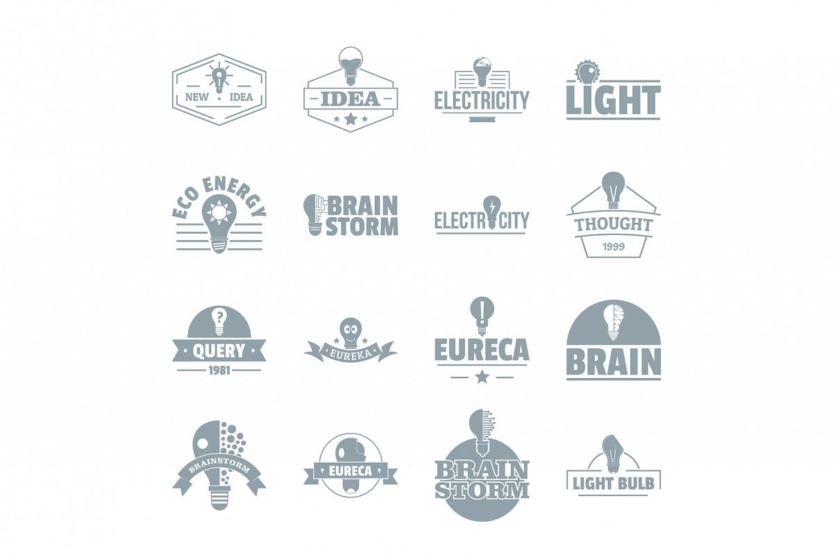 Lamp logo icons set, simple style example image 1