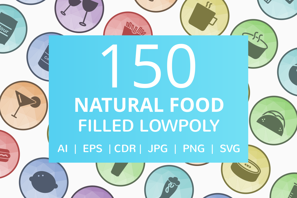 150 Natural Food Filled Low Poly Icons example image 1