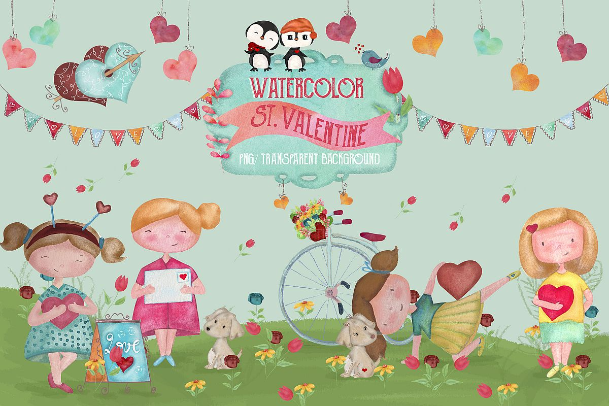 Watercolor St. Valentine example image 1