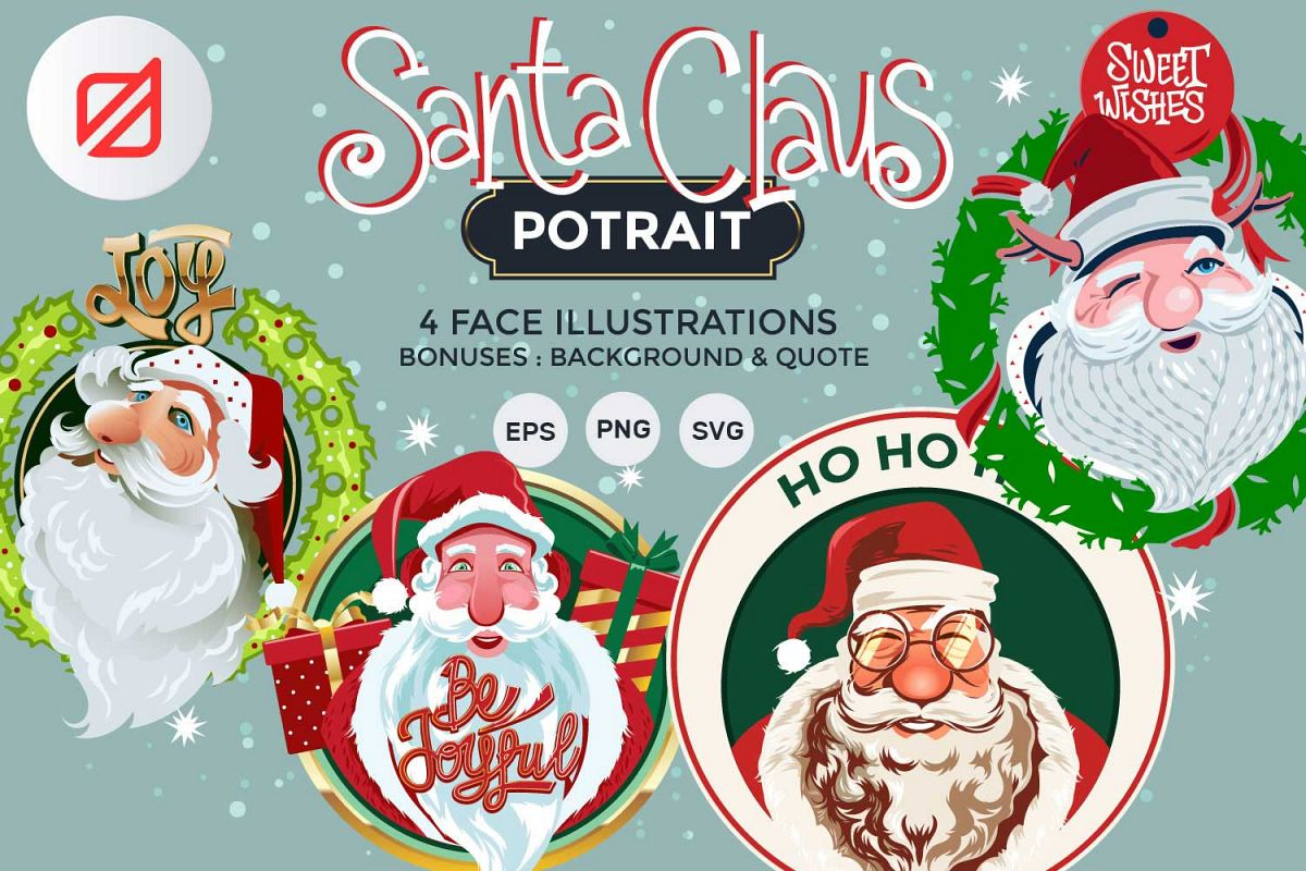 Santa Claus Face Collection Illustrations example image 1