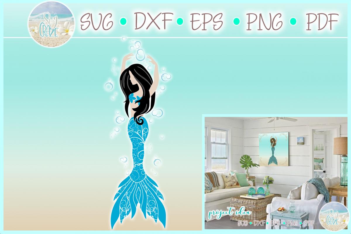 Mermaid Dance Ballet Mandala Zentangle SVG example image 1