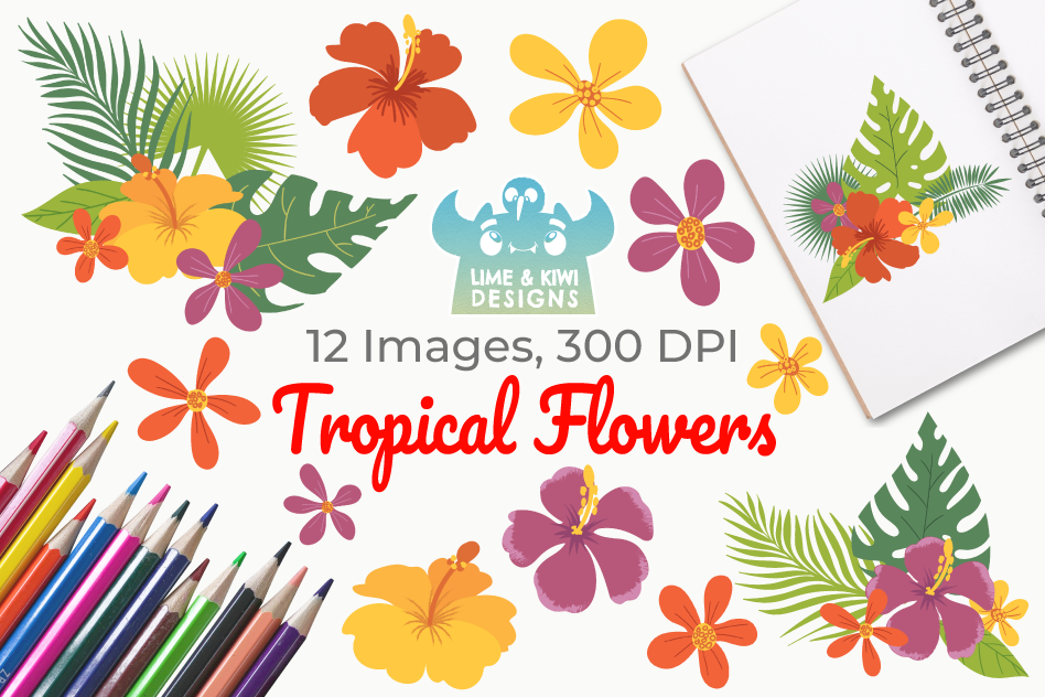 Tropical Flowers Clipart, Instant Download Vector Art example image 1