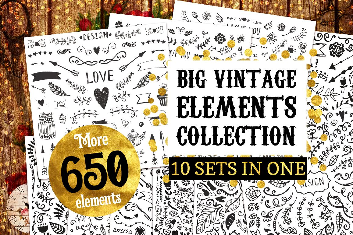 Big Vintage Bundle! 650 elements example image 1