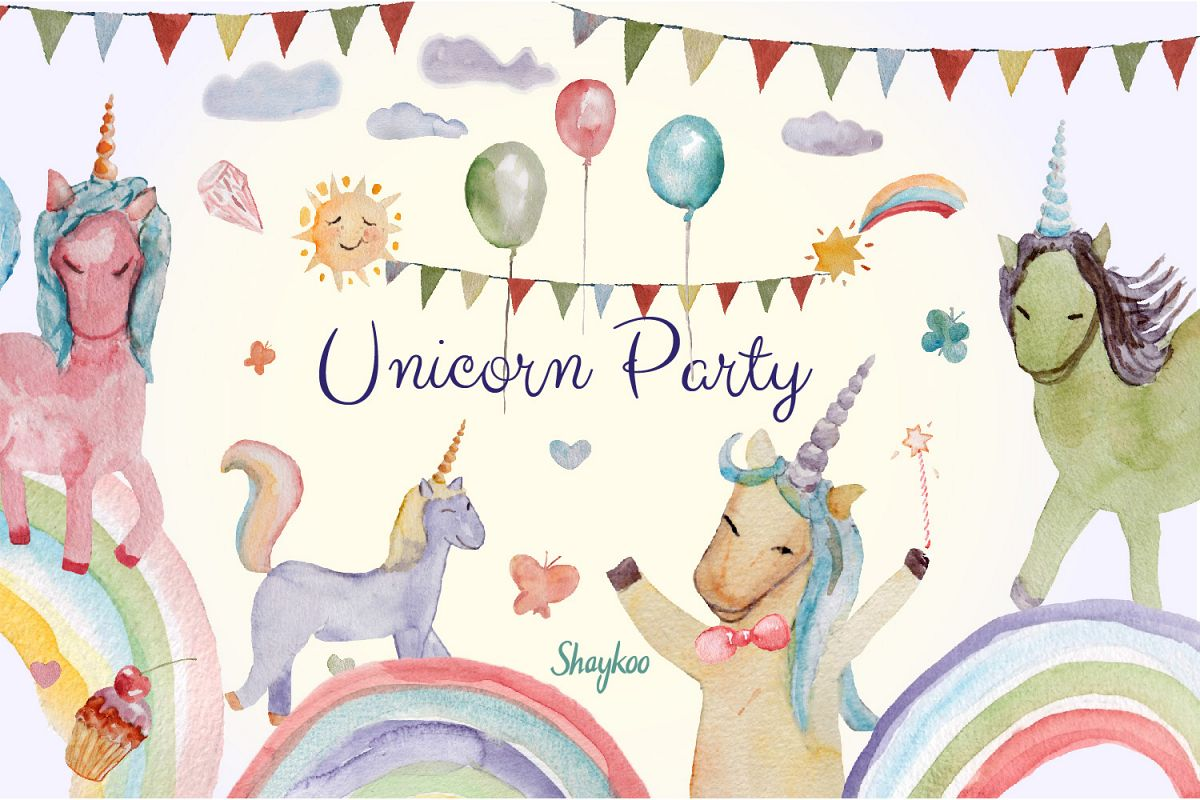 Unicorn Party Clipart, Watercolor Baby Unicorn Clipart example image 1
