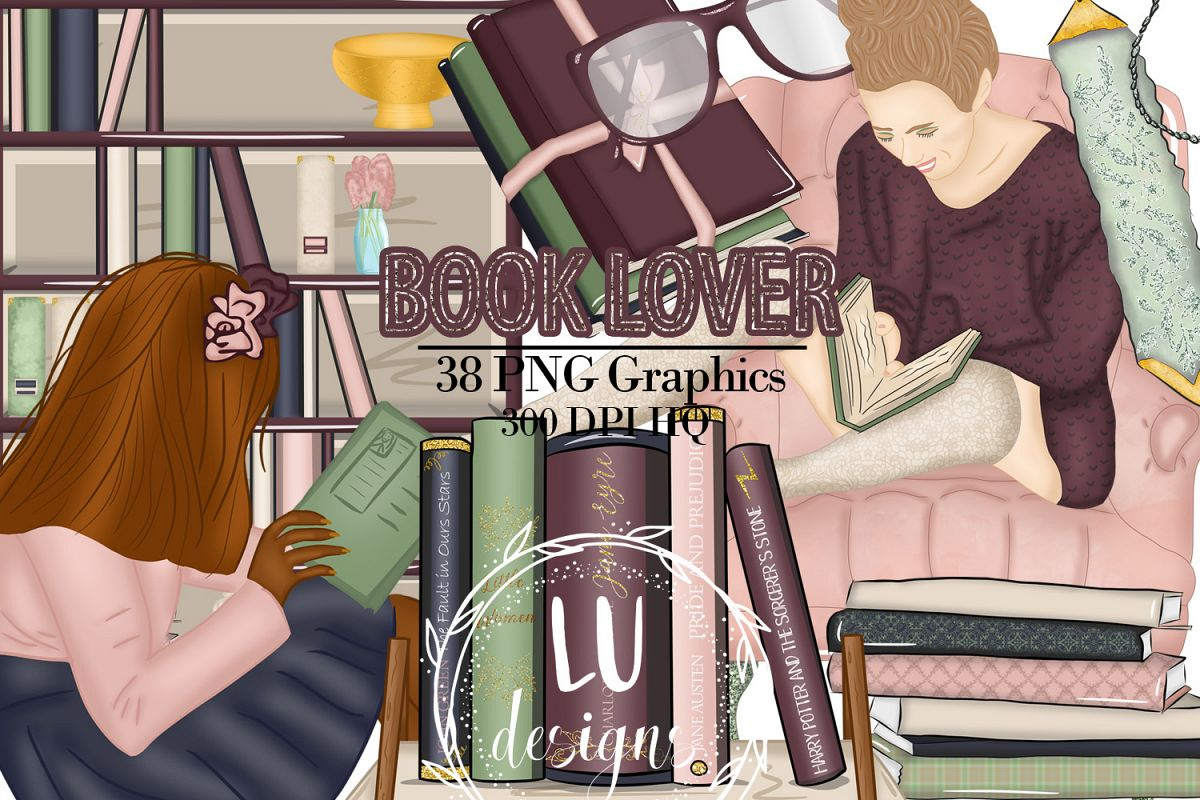 Book Lover Clipart, Back To School Graphics, Books Clipart example image 1