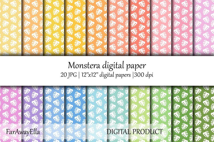 Monstera leaf JPG digital paper | 20 seamless backgrounds example image 1