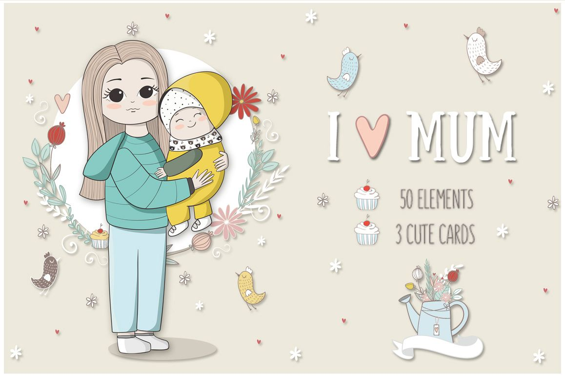 I love mom. Vector illustrations example image 1