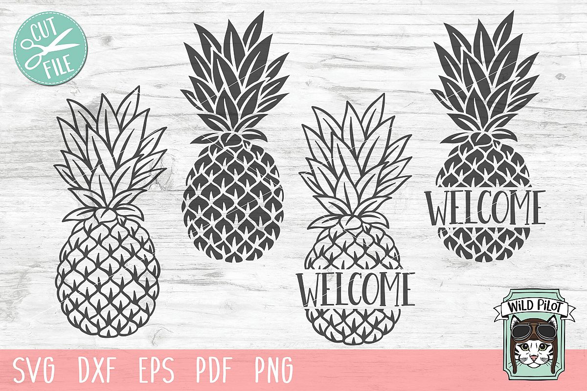 Pineapple SVG file, Pineapple Welcome Sign, Pineapple Cut example image 1