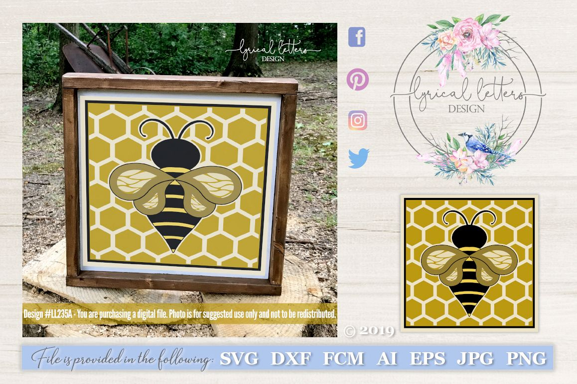 Honeybee Block Design Spring SVG DXF FCM LL235A example image 1