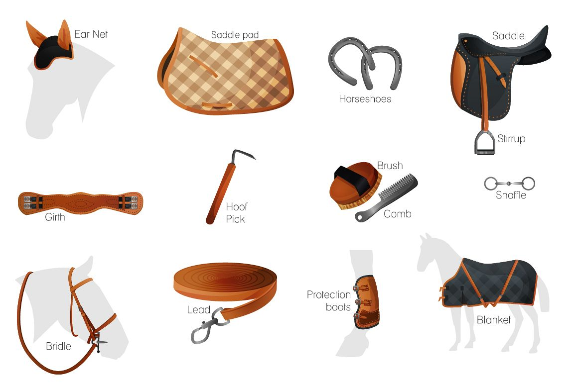 Vector equestrian horse equipment 13 items in 2 color + bonus horse silhouettes and patterns example image 1