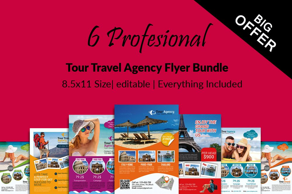 6 Tour Travel & Holiday Agency Flyers Bundle example image 1