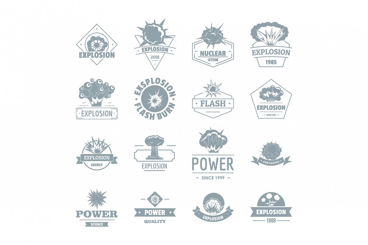 Explosion power logo icons set, simple style example image 1