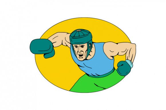 Amateur Boxer Knockout Punch Drawing example image 1