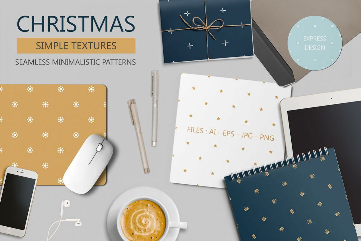 Simple seamless winter patterns example image 1