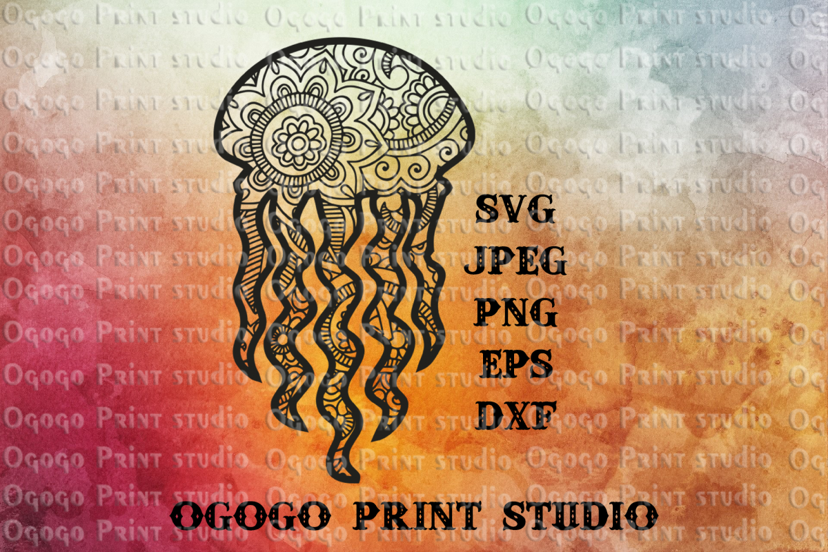 Jellyfish SVG, Zentangle SVG, Sea animal SVG, Mandala svg example image 1